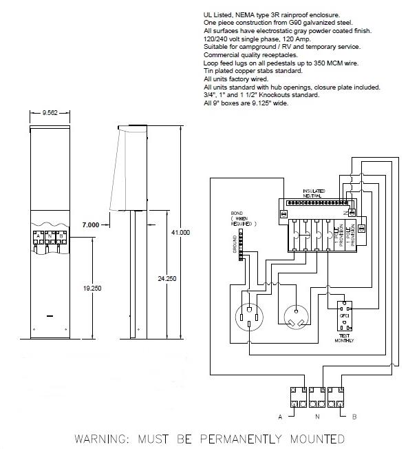 1999 buick park avenue radio wiring diagram 50, 30, 20 amp rv pedestal with pad mount bracket - rv ... rv park power pedestal wiring diagram