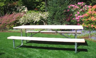 Commercial outdoor picnic table frame kit 10 ft galvanized frame picture of the 8 ft commercial outdoor picnic table frame kit the 10 ft picnic table frame kits has three support legs watchthetrailerfo