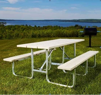 Outdoor Picnic Table Ft Plastic Lumber Galvanized Frame RV - Picnic table supplies