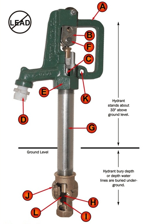 No Lead Frost Proof Yard Hydrant Specs